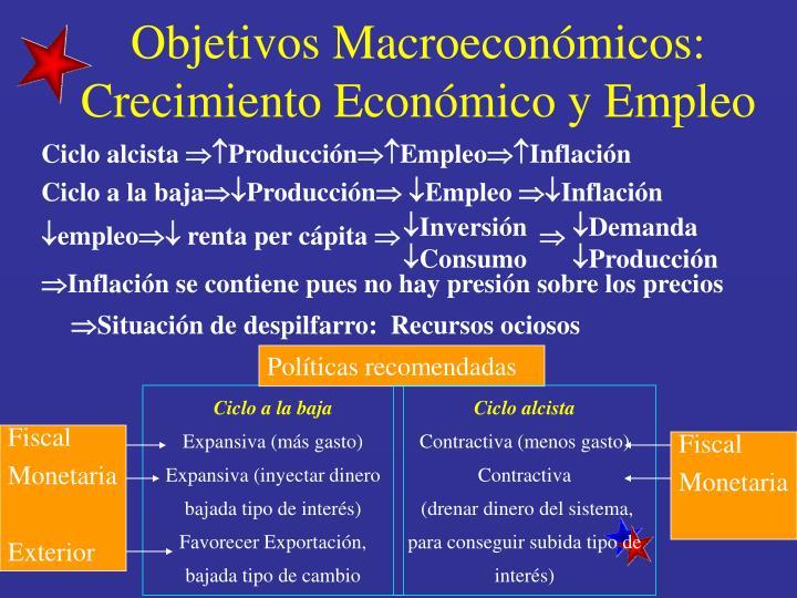 Objetivos Macroeconómicos: Crecimiento Económico y Empleo
