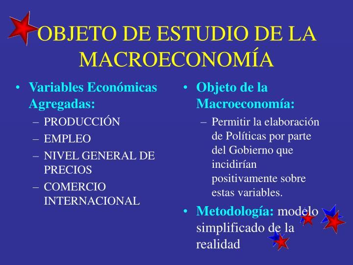 Objeto de estudio de la macroeconom a