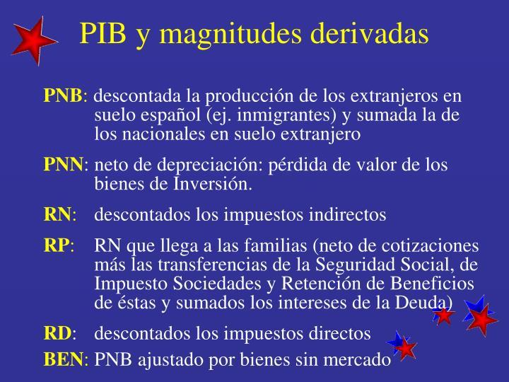 PIB y magnitudes derivadas