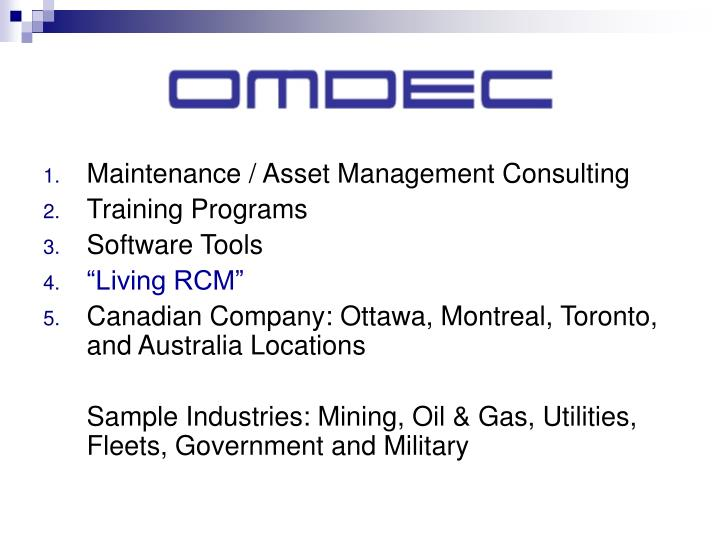 Maintenance / Asset Management Consulting