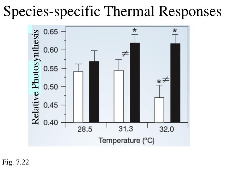 Species-specific Thermal Responses