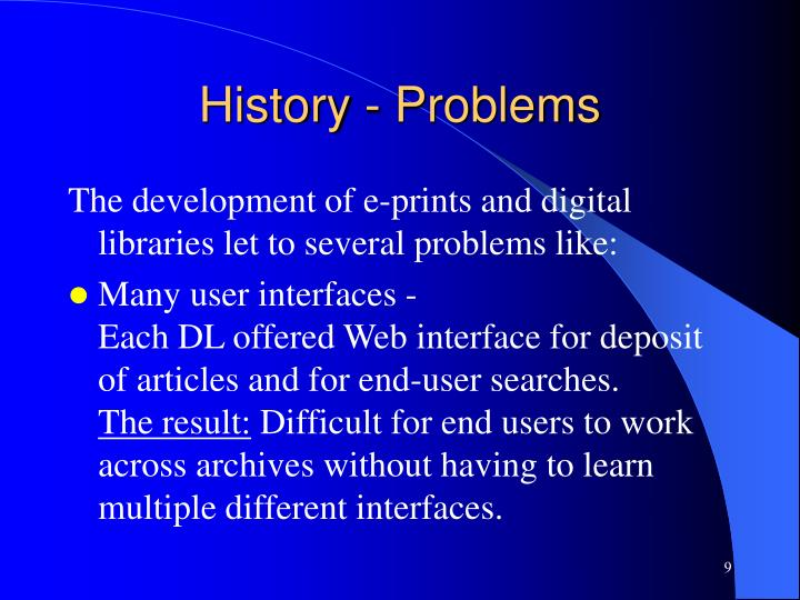 History - Problems