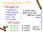 college credit at phs