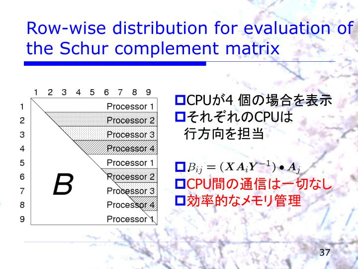 Row-wise distribution for evaluation of the Schur complement matrix