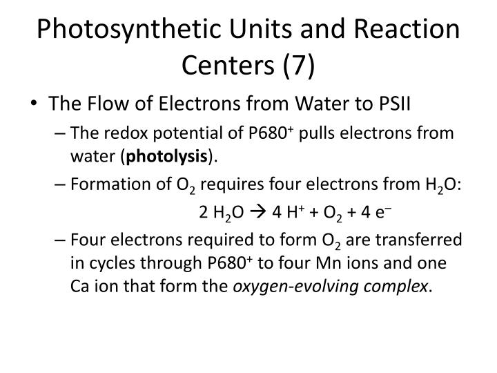 Photosynthetic Units and Reaction Centers (7)