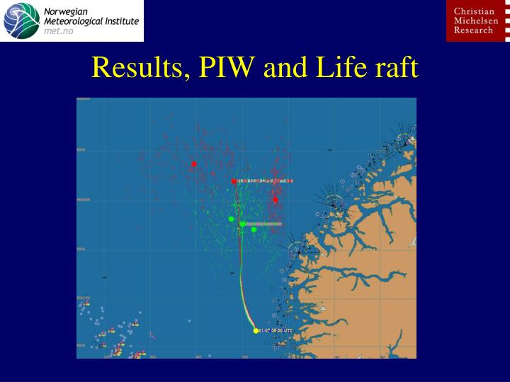 Results, PIW and Life raft