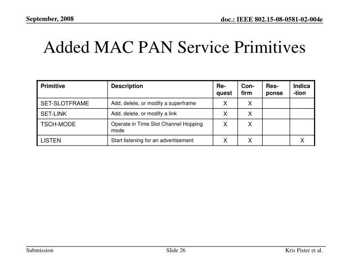 Added MAC PAN Service Primitives