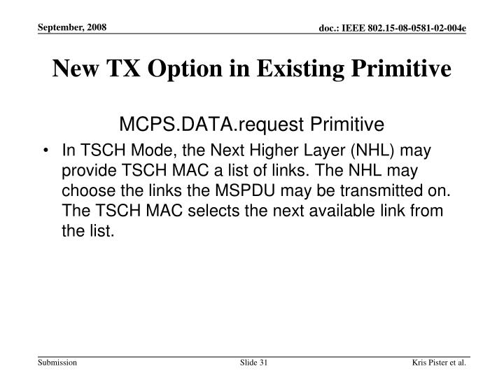 New TX Option in Existing Primitive