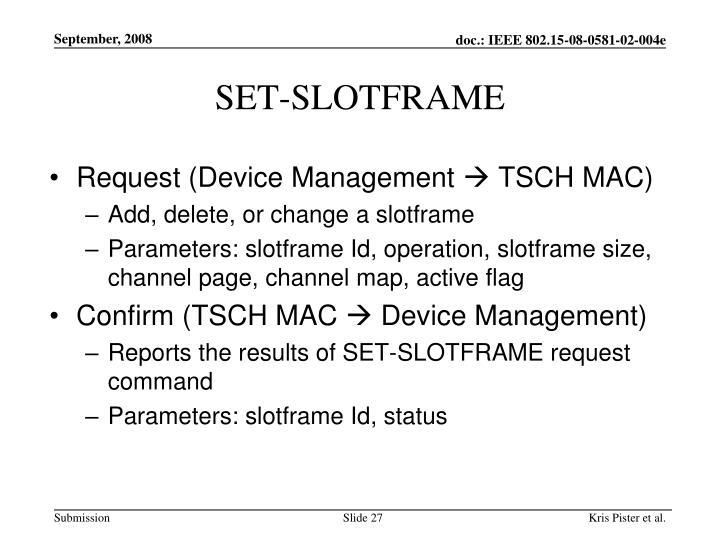 SET-SLOTFRAME