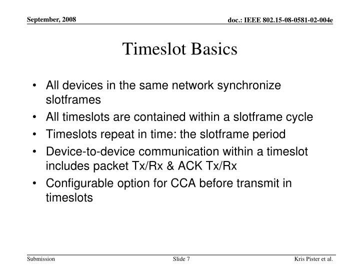 Timeslot Basics