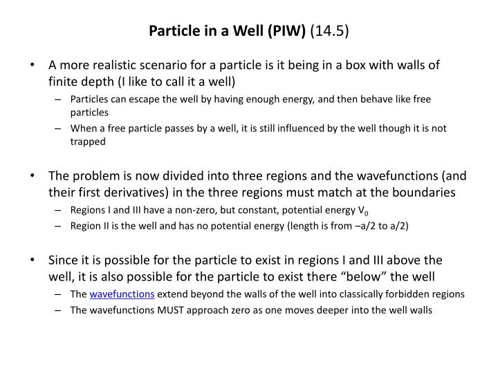 Particle in a well piw 14 5