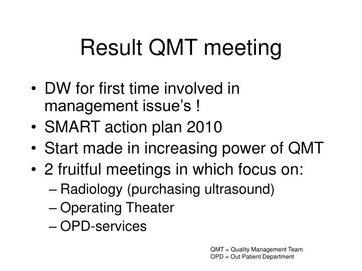 Result QMT meeting