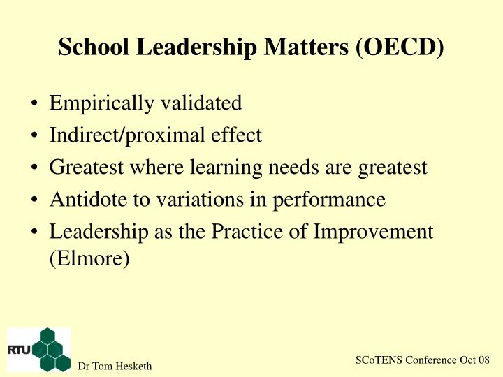 School leadership matters oecd