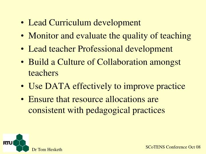 Lead Curriculum development