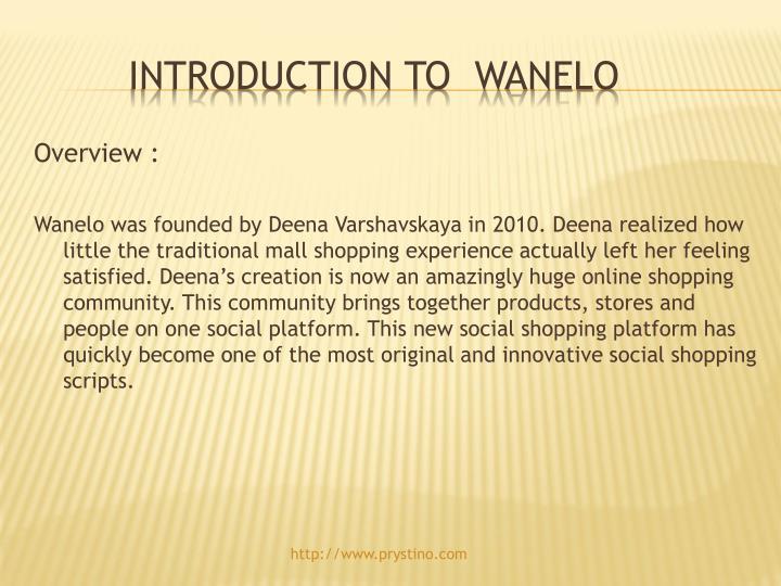 Introduction to wanelo