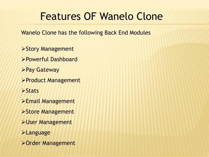 Features OF Wanelo Clone
