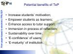 potential benefits of tep