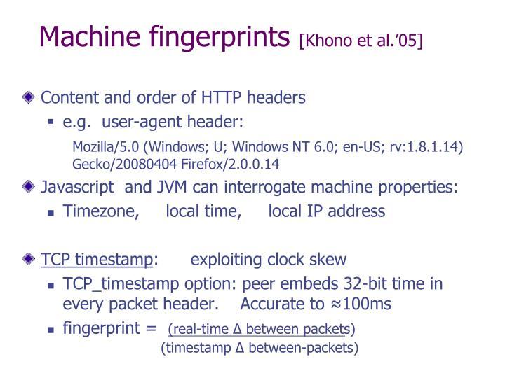 Machine fingerprints