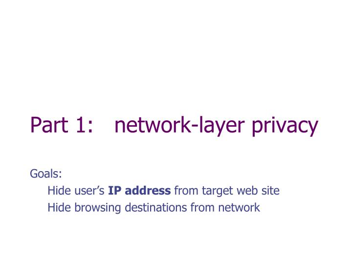 Part 1:   network-layer privacy