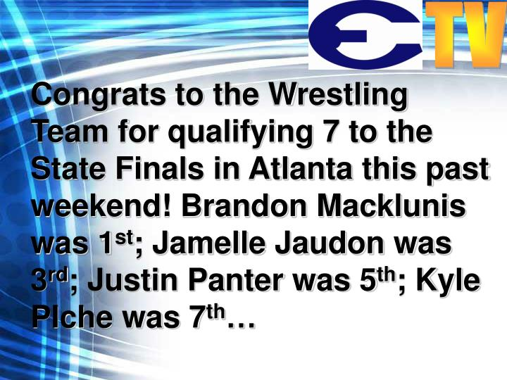 Congrats to the Wrestling Team for qualifying 7 to the State Finals in Atlanta this past weekend! Brandon Macklunis was 1