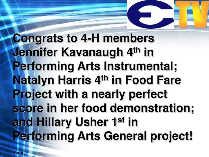 Congrats to 4-H members Jennifer Kavanaugh 4