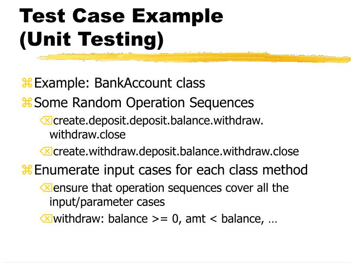 Test case example unit testing