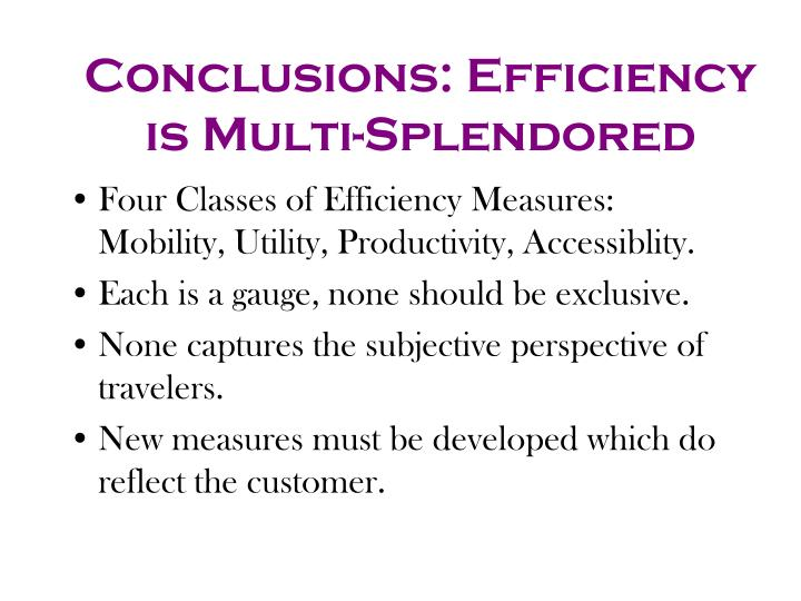 Conclusions: Efficiency is Multi-Splendored