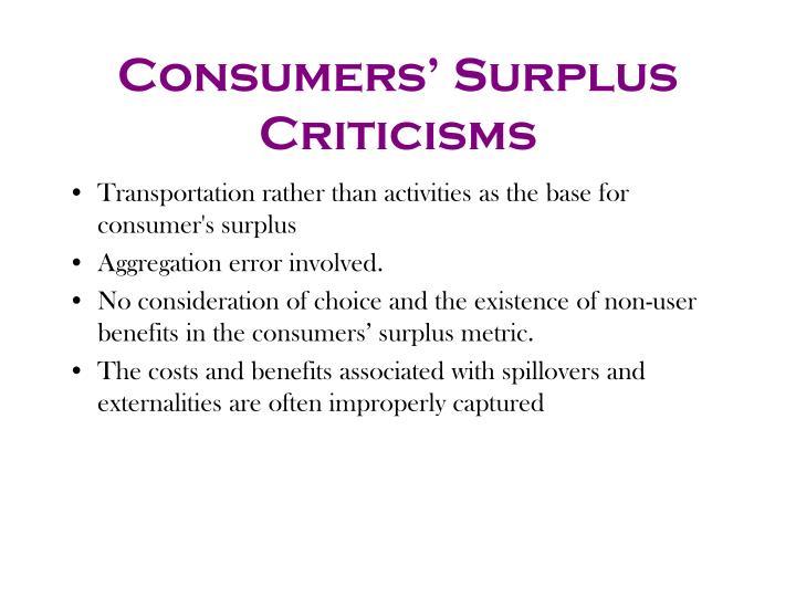 Consumers' Surplus Criticisms