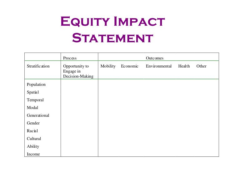 Equity Impact Statement