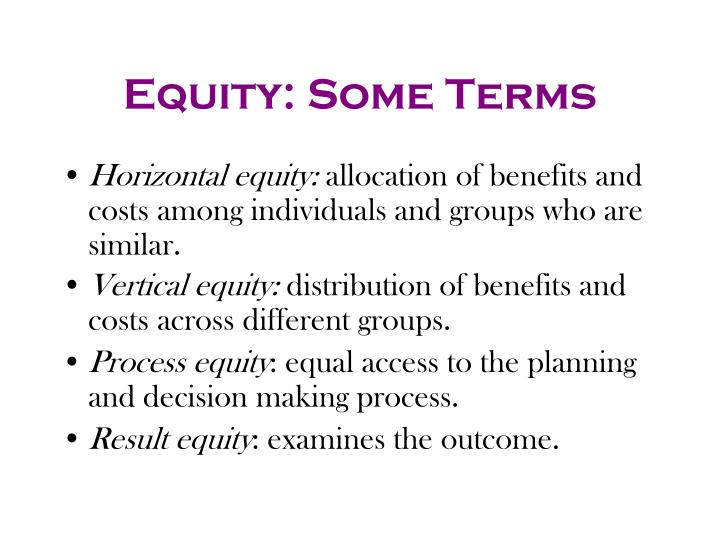 Equity: Some Terms