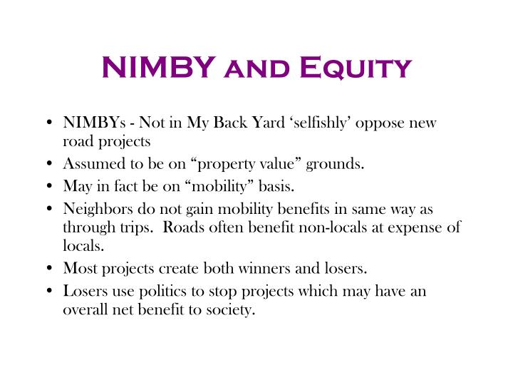 NIMBY and Equity