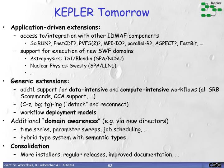 KEPLER Tomorrow