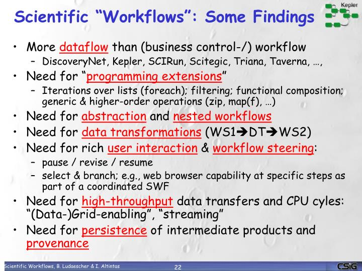 "Scientific ""Workflows"": Some Findings"