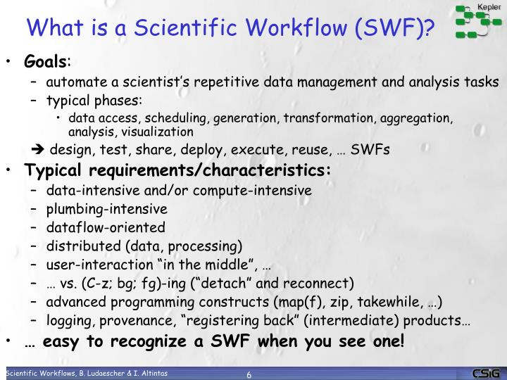 What is a Scientific Workflow (SWF)?