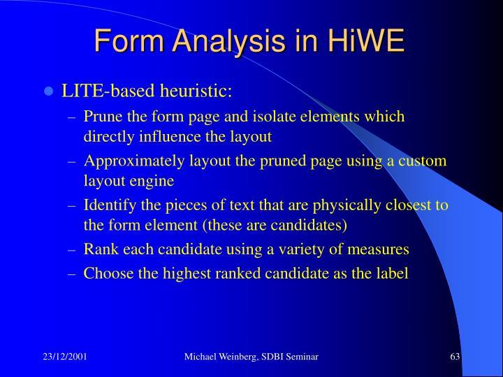 Form Analysis in HiWE