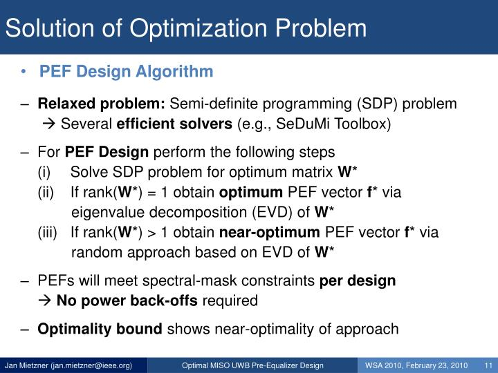 Solution of Optimization Problem