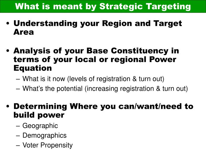 What is meant by Strategic Targeting