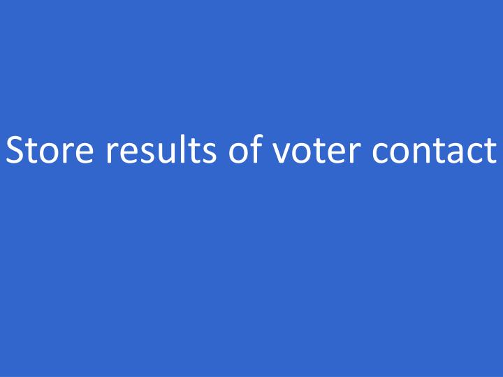 Store results of voter contact
