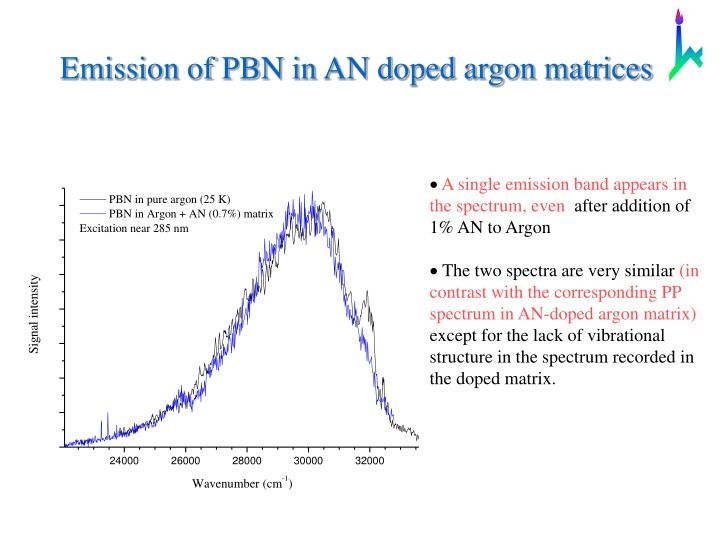 Emission of PBN in AN doped argon matrices