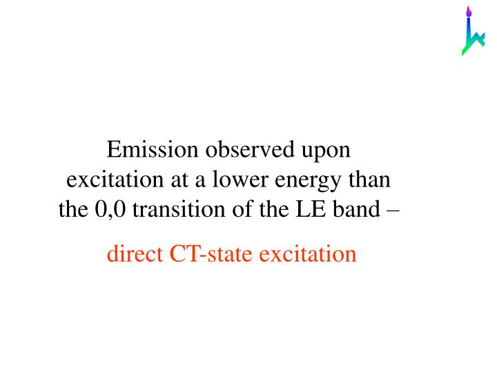 Emission observed upon excitation at a lower energy than the 0,0 transition of the LE band –