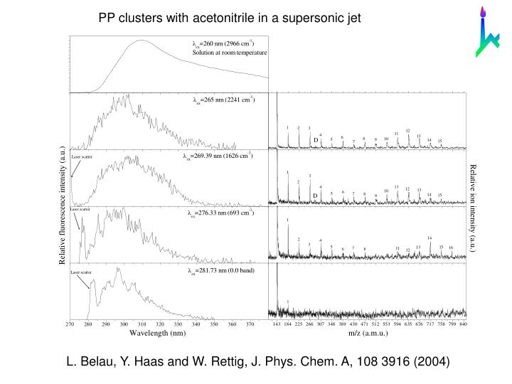 PP clusters with acetonitrile in a supersonic jet
