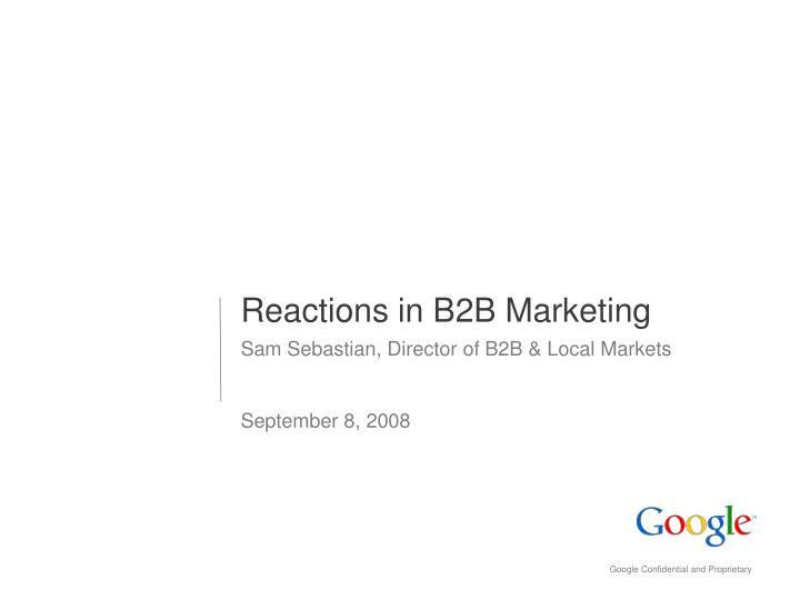 reactions in b2b marketing n.