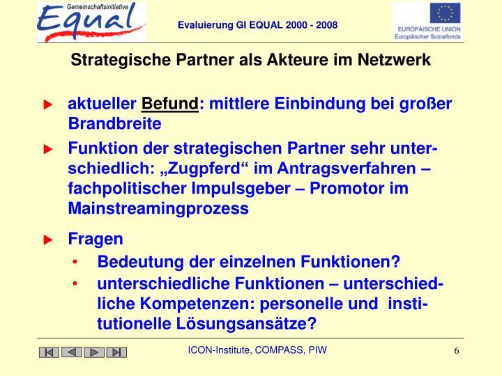 Strategische Partner als Akteure im Netzwerk