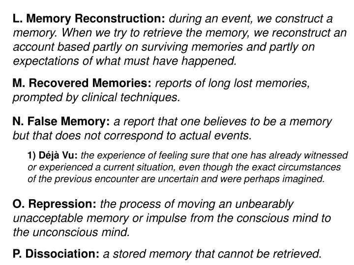 L. Memory Reconstruction: