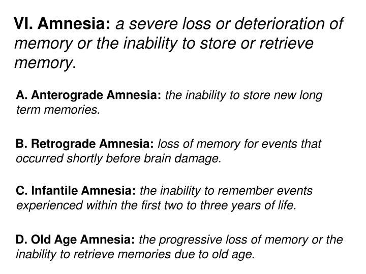 VI. Amnesia: