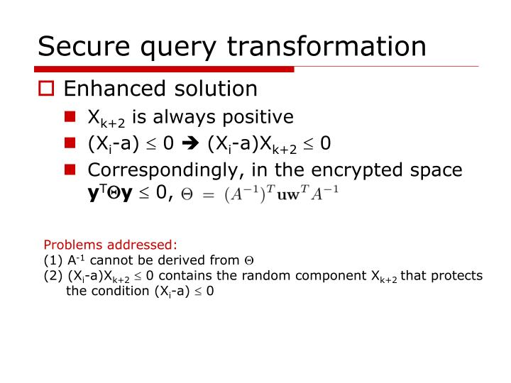 Secure query transformation