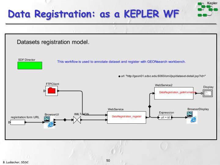 Data Registration: as a KEPLER WF