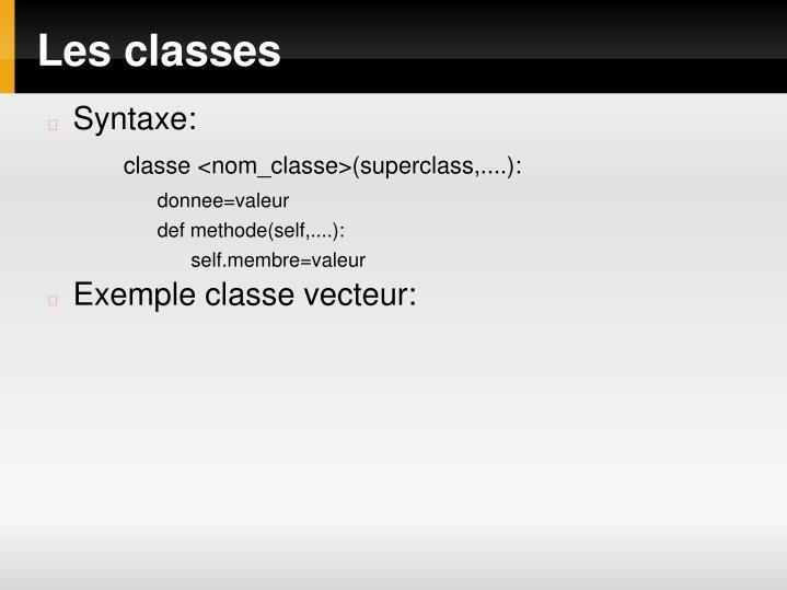 Les classes