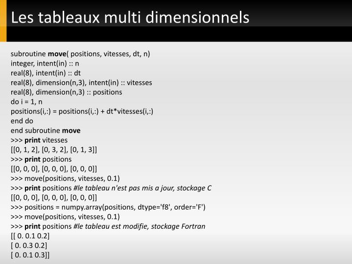 Les tableaux multi dimensionnels