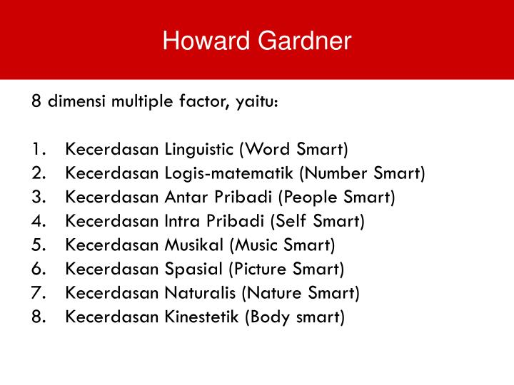 8 dimensi multiple factor, yaitu: